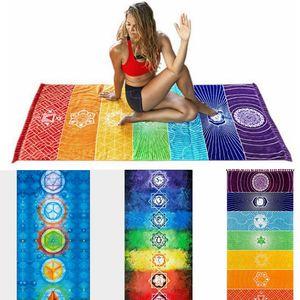 Rainbow Beach Towel Chakra Yoga Mats Rectangle Bohemia Blankets Swimming Towel Women Shawl Picnic Rug 4 Colors Optional LQP-YW3185