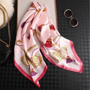 Women Silk Scarf Fashion Hanging Print Square Head Scarves Lady Shawls Silk Women Scarf Foulard Satin Hijab 90*90cm