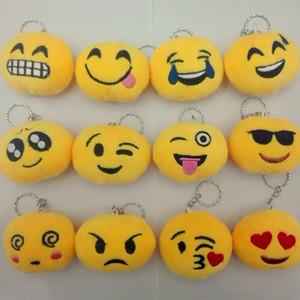 Moda Sıcak Sevimli Emoji Smiley İfade eğlendirici Anahtarlık Yumuşak Oyuncak Hediye kolye Çanta Aksesuar 2020 PP Pamuk Sarı Oyuncak