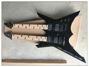 Double Neck 6 + 12 stringhe corpo nero chitarra elettrica con l'hardware nero, Acero Tastiera, può essere personalizzato