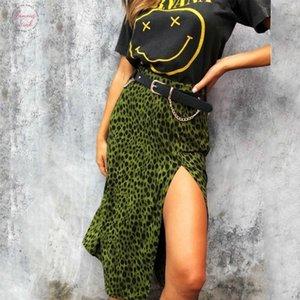 Women Fashion Skirts Summer Over The Knee Lace Up Leopard Print High Waist Long Thin Split Skirt X