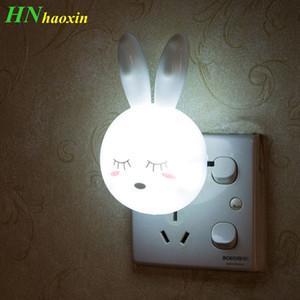 HaoXin Cartoon Rabbit LED Night Light AC110-220V Switch Wall Night Lamp con enchufe de EE. UU. Regalos para niños / bebés / niños Dormitorio Lámpara de noche