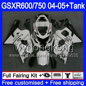 Кузов + бак для SUZUKI GSX-R 750 GSX R750 K4 GSXR 600 GSXR600 04 05 295HM.23 GSXR750 GSXR600 04 05 Белого HOT GSXR750 2004 2005 обтекателей
