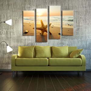 4 Picture Combination Picture Huge Summer Starfish Beach Giclee Canvas Oil Painting Art For Home Decoration