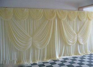 2020 Toile de fond de mariage Ivoire rideau Angle Ailes pailletée mariage pas cher Décorations 6 m * 3m tissu arrière-plan Scène Fournitures Décor mariage