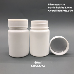 50pcs 60ml 60cc Bottiglie HDPE Bianco Vuoto Farmacia Ricaricabile Vitamina capsule con vite Seals