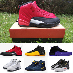 UNIVERSITY GOLD Panda 12 12s Basketball shoes for men DARK CONCORD FIBA REVERSE FLU GAME the master tiger mens Sports Sneakers with box