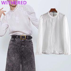 Davedi Inglaterra sencilla de empalme de encaje bordado elegante blusa de las mujeres blusas mujer de moda 2020solid camisa para mujer tops y blusa