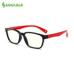 SOOLALA UV400 Kinder Anti-Blau-Licht-Gläser Silikon-Jungen-Mädchen-Computer-Brillen Blau lichtundurchlässigen Glas optische Rahmen