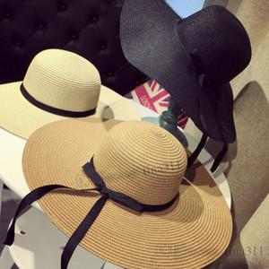 New 2019 elegant Korean version straw hat uv protection ladies sun hat fashion beach hat Wide Brim HatsT2C5028