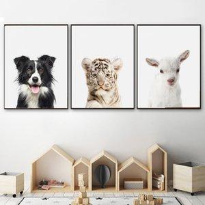 Koyun Aslan Köpek Eşek Halk Sincap Tiger Hayvan Wall Art Kanvas Boyama Baskı Kid Dekoratif Resim Çocuk Odası Ev Dekorasyonu