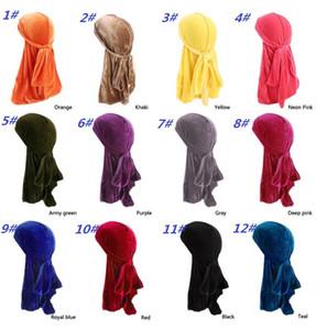 Nouveaux Hommes Femmes Bandana Velours Turban Chapeau Durag Hip Hop Chapeaux Headscarf Longue Queue Headwrap Crâne Chapeau De Pirate Pour Hommes Et Femmes 12 Couleurs
