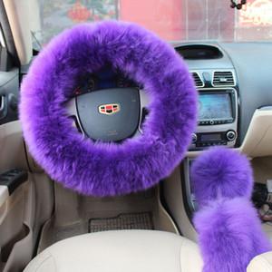7 colori di lana peluche Fuzzy copertura del volante Viola lana freno a mano Accessori auto 3 pezzi