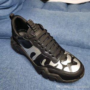 Plataforma de goma diseñador de las mujeres zapatillas de deporte de la zapatilla de deporte camuflaje Rockrunner Escaladores Vintage Zapatos New Real corrientes de cuero Formadores papá Zapatos