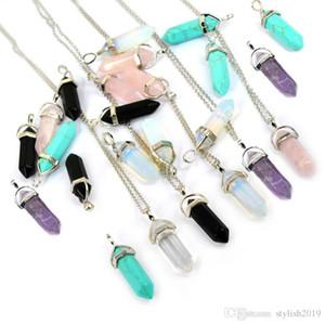 Bala Forma real naturais ametista cristal de quartzo Cura Ponto Chakra Bead Gemstone Opal pedra pingente WCW082 Cadeia Colares Jóias