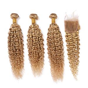 Strawberry Blonde Kinky Curly péruviens Bundles cheveux avec fermeture # 27 Honey Blonde Kinkys cheveux bouclés avec fermeture tissages de l'homme en dentelle 4x4