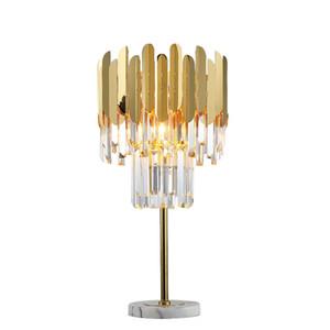 mesa de cristal do quarto lâmpada lâmpada de cabeceira moderna sala de estar lâmpada de decoração de mesa de luxo de ouro de aço inoxidável