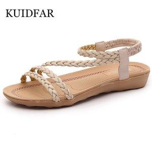KUIDFAR Yaz Kadın Sandalet Artı boyutu 36-42 Kadın Casual Sandalet Ayakkabı Kadın Ayaklı Bayanlar Düz Sandalet Chaussures Femme LY191203 Floplar