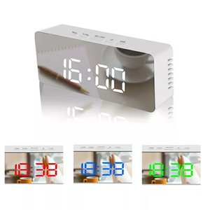 LED-Spiegel-Wecker Digital-Snooze Tischuhr Wake Up helle elektronische Große Zeit-Temperatur-Anzeige Hauptdekoration Uhr DBC BH2657