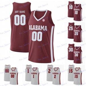 مخصص ألاباما قرمزي المد والجزر 2020 كرة السلة أي اسم عدد 2 كيرا لويس الابن 11 جيمس بولدن 13 Jahvon Quinerly الأحمر الأبيض جيرسي 4XL