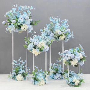 60cm 80cm 100cm Tall Flower Vase Gold Column Stand Metal Road Lead Wedding Centerpiece Flower Rack For Event Party Decoration