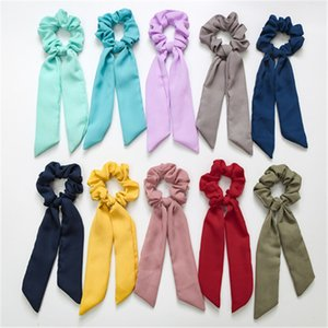 Vintage Solid Color Hair Scrunchies Bow Women Accessories Hair Bands Ties Scrunchie Ponytail Holder Rubber Rope Decoration Big Bow BFJ569