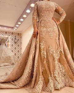 Aso Ebi 2020 Arabe musulman Luxurious Sexy Robes de soirée en dentelle perlée robes de bal sirène fête officielle Deuxième réception Robes ZJ518
