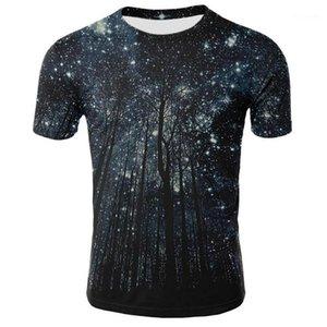 Fashion Slim Tree Starry Sky Print Mens Tees Casual Males Clothing 3D Digital Print Mens Designer Tshirts
