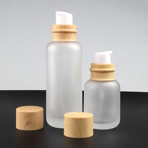 Lozione pompa Contenitore con legno Cap, 50ml bottiglia di vetro ovale Crema