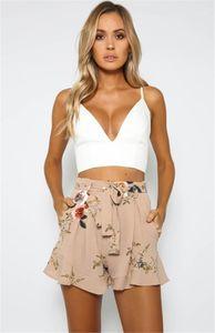 short Pants Holidays Split Casual Apparel Summer Floral Printed Ladies Pants Fashion Designer Female Loose