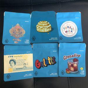 3.5 Grams Cookies Sac 420 mylar Sacs d'emballage sans odeurs Childproof Californie Cheetah Piss Gelatti Gary Payton London Pound sacs Zipper