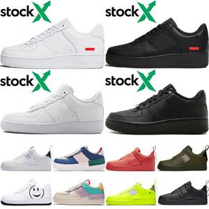 Nike Air Force one 1 Af1 2019 Mais novo homens altos mulheres baixo preto branco trigo um sapatos de malha de um mens das mulheres designer de esporte correndo sapatilhas