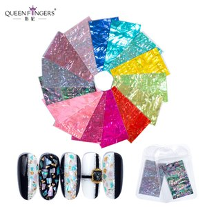 QUEEN FINGERS 15 Colors Holo Nail Shell Paper Decorations Stickers 7*4cm Nail Decals
