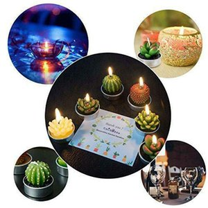 L6pcs Artificial Succulent Plants Cactus Candle For Family Decoration Birthday Party Wedding Site Decoration Candlelight