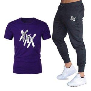 Conjuntos de hombre T Shirts + Pantalones Hombres Ropa de marca Xxxtentacion Tacksuit Fashion Casual Tshirts Gimnass Entrenamiento Fitness Conjuntos Tamaño M-2XL