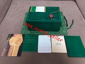 أعلى جودة الفاخرة الظلام الأخضر ووتش مربع هدية حالة الساعات ورقة كتيب بطاقة العلامات والأوراق ل 116610 126334 126710 116500 116520 صناديق الساعات