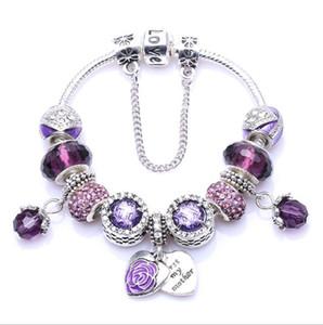 di lusso designer di gioielli donne braccialetto di fascino misura Bracciali Pandora per le donne Bracciali amore cristallo cuore azzurro rosa perle viola dei monili di Diy