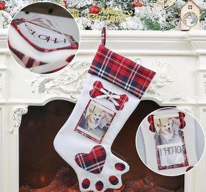 Köpek Paw Noel Çorap Noel Noel Stoklar kolye Süsleri Çocuk Hediye Çanta Şeker Çanta Çorap Fotoğraf GGA2946-3 koy Can