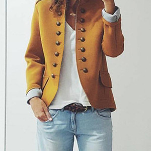 New Arrival Women Lady Long Sleeve Buttons Solid Color Suit Coat for Autumn Winter Party