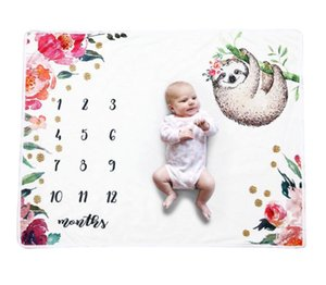 Flannel Blankets Baby Full Moon Photo Cartoon Background Cloth Newborn Month Commemorative Photography Prop Kids Infants Milestone Blanket