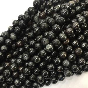 """طبيعي أسود Arfvedsonite جولة فضفاض الأحجار الكريمة حجر الخرز 6MM 8MM 10MM 12MM 15.5 """"05822"""