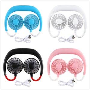 Handfreier Ventilator Sports tragbare USB aufladbare Doppelmini-Luftkühler Sommer Hals hängen Fan-Party Favor OOA8109