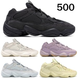 Pietra tenera Vision Bone White di alta qualità 500 pattini correnti delle donne Super Mens luna gialla Utility Nero Blush Kanye West Sneakers stilista