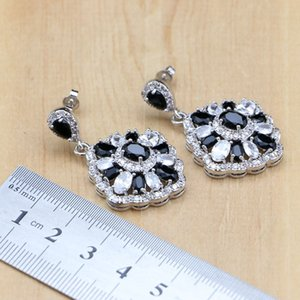 Natural Black Zircon Stones White CZ 925 Silver Jewelry Sets For Women Earrings Pendant Rings Bracelet Necklace Sets