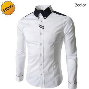 New2017 Spring Autumn Evening Dress Married Shirts Men Long Sleeve Business British Style White Grey Patchwork Base Slim Shirt