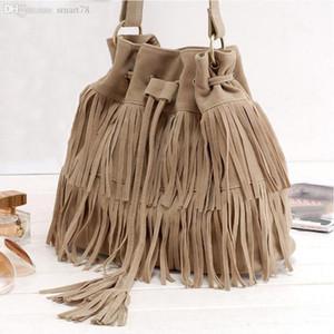 Designer-Suede cordão Bucket Bag Mulheres Handbag Faux Fringe Tassel Shoulder Crossbody Messenger Bag Boho Estilo