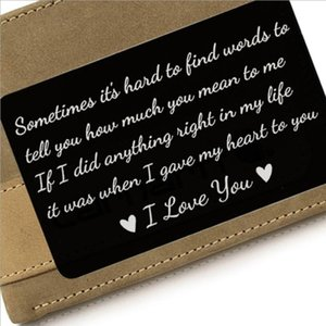 Hot sale stainless steel engraving wallet clip card inlay, i love you couples postcard business card, birthday gift, wallet card