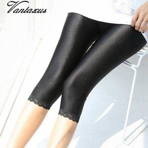 2019 fashion new large size 5xl solid pencil pant floral lace spliced knee length capris women king size black neon shine pants