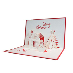 3D Paper Christmas Card Greeting Cards cutting Castle Christmas Tree Snowman Postcard blessing cards christmas decorations