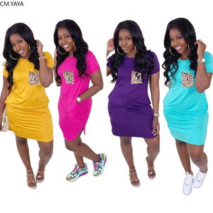 2020 Women Summer leopard print pocket o-neck short sleeve classic t-shirt mini dress fashion streetwear above knee dresses
